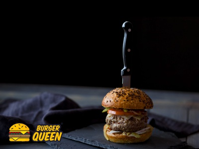 Burger Queen logo design branding