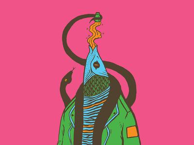 Drinking FIsh shot design color illustration beer snake fish drinking