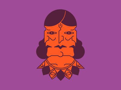 Triple Head graphic simple color illustration eyes woman head