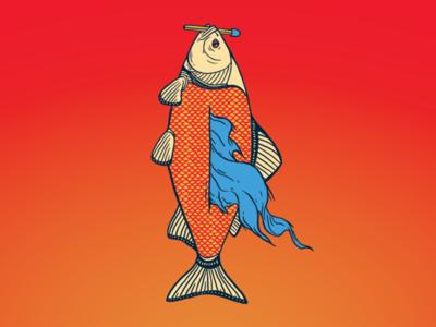 Self-Destruction water color texture match fish fire illustration