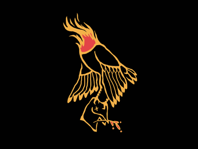 Dead Inside headless head fire color illustration bird