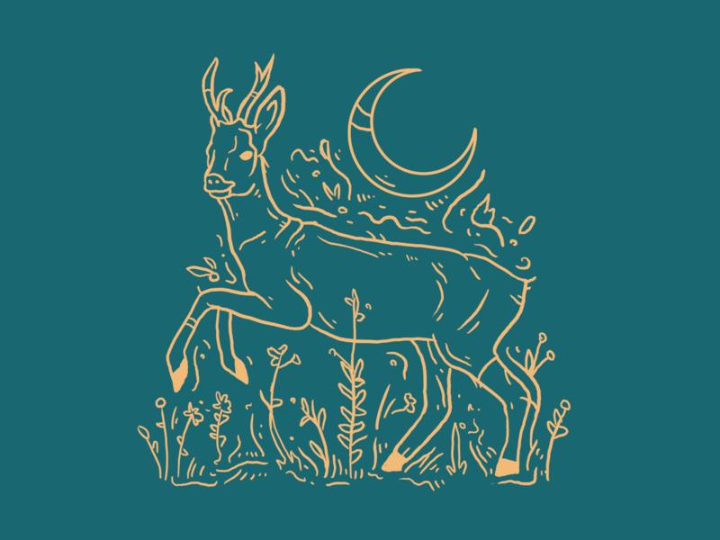 Roebuck mystical animal art nature mooncake roebuck roe deer buck color illustration