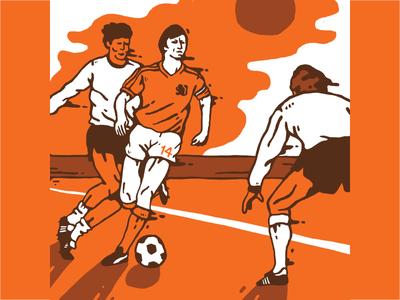 Cruyff graphic illustration color 14 netherlands holland world cup soccer football cruijff