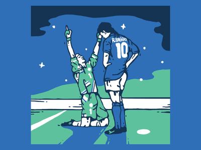 Baggio taffarel brazil azzura italy world cup soccer design football graphic color illustration