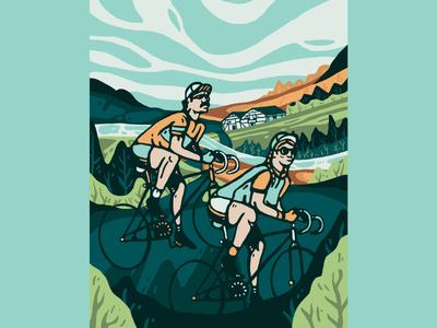 Bike biker holland bicycle nature bike color illustration