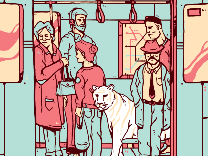 Subway Creatures metro new york subway tiger design graphic color illustration