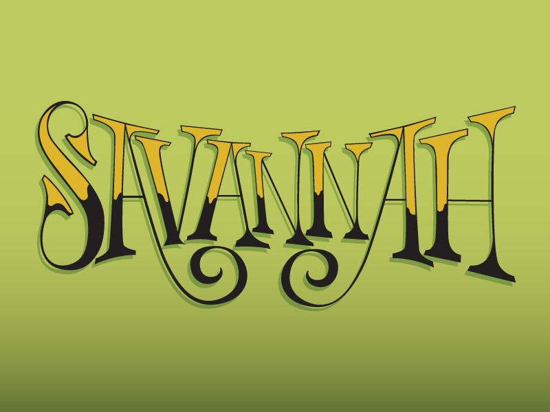 Savannah calligraphy hand-drawn savannah lettering type