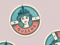 Queens, NY badge illustration new york sticker rebound queens