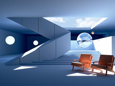 Study 03 - Berlin Inspired redshift design clean architecture digital art 3d art c4d 3d