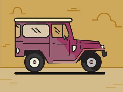 TOYOTON Land Cruiser 80's land cruiser car illustration car drawing illustration car toyota