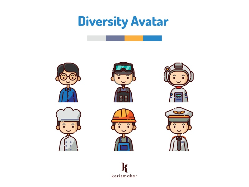 Diversity Avatar Profession smiley character diversity diverse boy profession kerismaker profile avatar icons avatar business icon ui icon web icon app iconography icons set icons