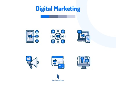 Digital Marketing Icon startup promotion management app icondesign business digital marketing agency digital marketing icon pack ui app illustration website vector kerismaker icon app iconography icon web icons set icons icon