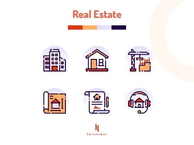 Real Estate Icons furniture exterior interior construction building house home real estate app icons business icon design website kerismaker iconography ui icon app icon web icons set icons icon