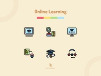 Online Learning Icons student teaching studying study education online school e-learning online learning interface icons uiux vector iconography interaction website icon app kerismaker icon web icons set icons icon