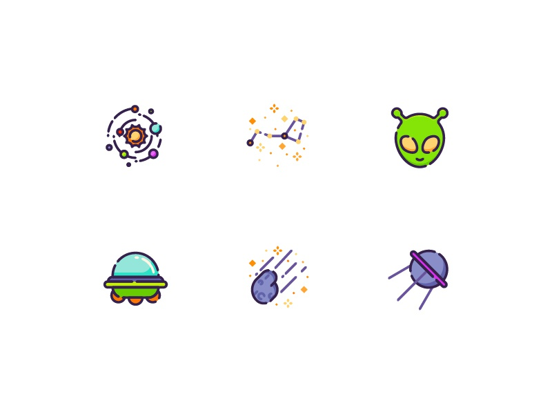 Alien kerismaker icons set iconography icons satellite asteroid ufo galaxy space alien