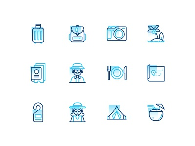 Tourism leisure holiday camera bag tourism icon icons icons set iconography