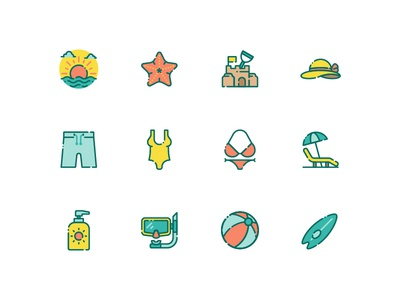 Summer Vacation surf dive swimsuit beach summer vector design illustration icon icons set icons iconography