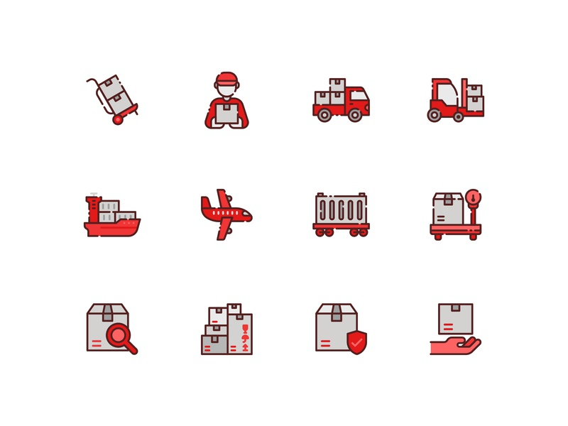 Logistics icon set warehouse stockhouse online shopping shipping management shipping container parcel online store shipment website kerismaker iconography icon app icon web icons set icons icon set icon shipping delivery logistics