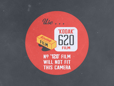 Vintage Kodak vintage kodak 120 film sticker 620 red yellow black