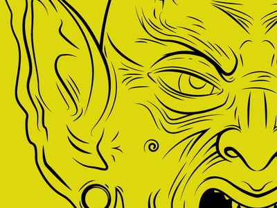 Goblin WIP goblin yellow black illustrator drawing wip work in progress