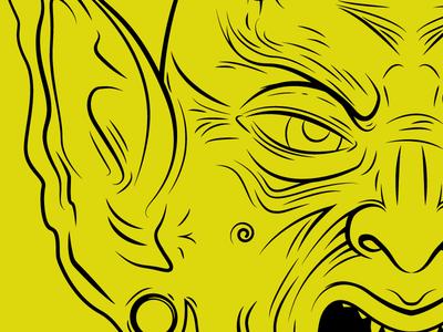 Goblin WIP goblin yellow black illustrator drawing wip work in progress