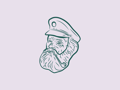 the Harbourmaster hat pipe blue gray illustration