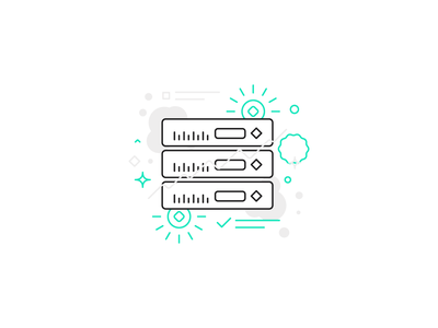 Openhash server Illustration turqoise blue green open-source icon illustration server crypto