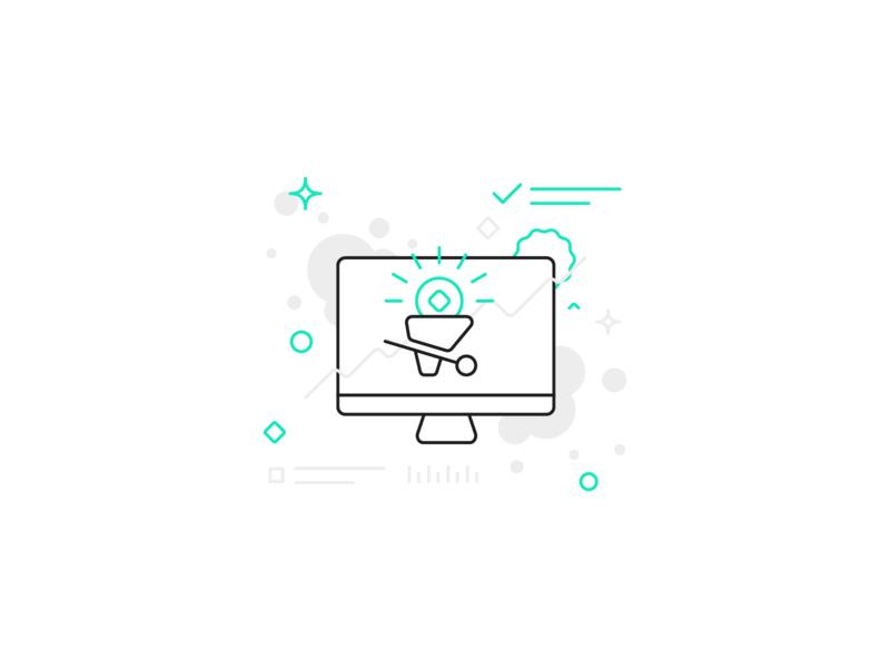 Openhash client Illustration icon client turqoise white gray blue green crypto