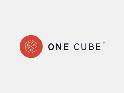 One Cube logo update red blue aaux frame circle gray tm logo cube hexagon