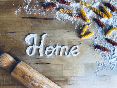 Home home flour pasta food lettering