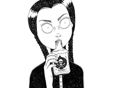 Wednesday Addams illustration draw drawing artline blackink ink addams wednesday
