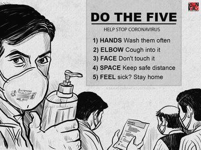 STAY SAFE FROM CORONAVIRUS branding painting art saikat sarkar illustration graphic  design creative poster illustration covid-19 satyajit ray stay safe