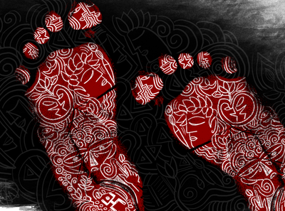 footprint creative poster photoshop graphic  design saikatsarkar16 saikat sarkar red and black red and white illustration football saikat sarkar art creative painting footprint