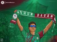 Mohun Bagan satyajit ray drawing saikat sarkar illustration poster saikat sarkar painting graphic  design photoshop illustration mobile sabuj merun