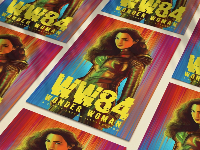 Wonder Women 84 satyajit ray logo saikatsarkar16 saikat sarkar illustration graphic  design creative poster illustration photoshop prince diana wonderwoman