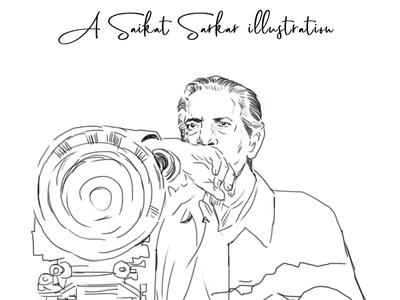 Satyajit Ray 01a satyajit ray poster art illustrate photoshop drawing illustration