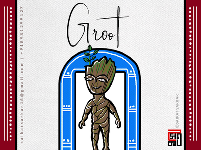 Groot  Jamini Roy Style For Dribbble