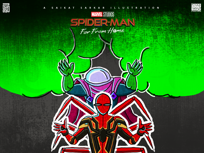 Spider-Man  Far From Home photo draw indian painting jamini roy minimal spiderman far from home spiderman marvel magazine india drawing art saikatsarkar16 saikat sarkar illustration graphic  design creative poster illustration photoshop
