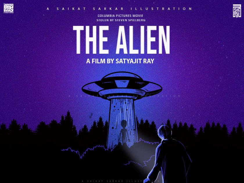 The Alien Satyajit Ray Movie satyajit ray tribute movie kolkata painting art india design saikatsarkar16 saikat sarkar illustration illustration poster photoshop columbia satyajit ray movie the alien