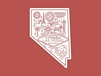 Hometown: Las Vegas, NV sticker desert gambling iconography illustration sticker nevada nv las vegas