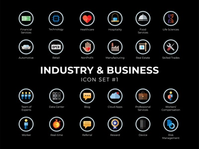 Dribbble Industry business icon set #1