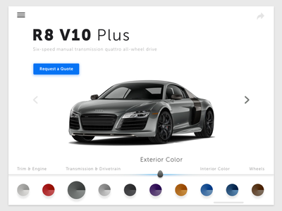 Customize Product car audi r8 product customize elegant dailyui sketch ui clean