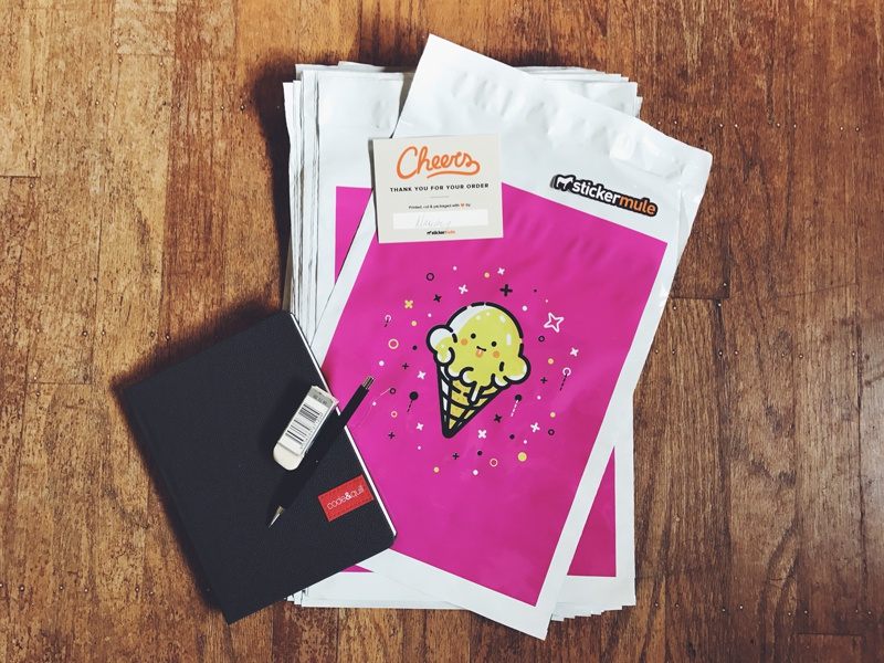 Ice Cream Cone Poly Mailers poly mailers ice cream cone stickermule