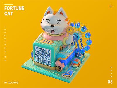 Fortune cat wheel ferris park cat illustration model 3d c4d