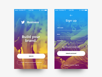 Sign Up - Daily UI #001 twitter gradient photo login signup social app ios 001 dailyui ui ux