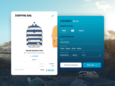 Credit Card Checkout - Daily UI #002 widget web shop herschel dailyui pay shopping ecommerce checkout card ui ux