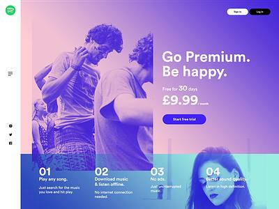 Landing Page - Daily UI #003 product web design exposure daily web dailyui spotify music landing ui ux