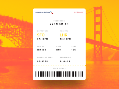 Boarding Pass - Daily UI #024 inspiration concept dailyui ticket gradient ios pass boarding design ui ux