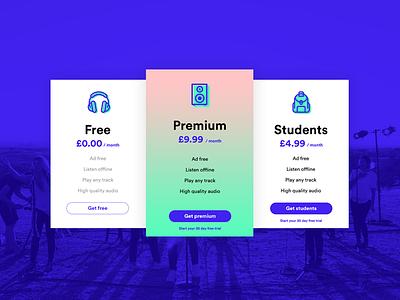 Pricing - Daily UI #030 card music icon ios app dailyui design pricing ui ux