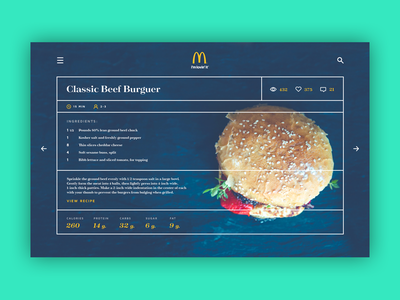Recipe - Daily UI #040 burger concept inspiration ingredients tipography recipe food dailyui ui ux
